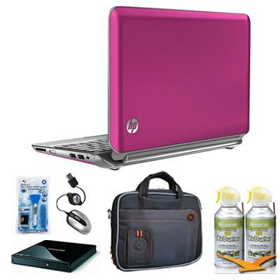 Mini 10.1` 210-2160NR Pink Netbook Essentials and Optical Drive Bundle