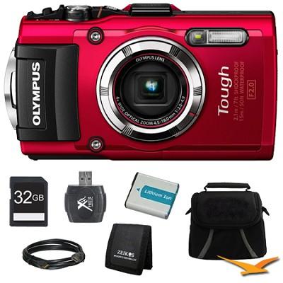 TG-3 16MP 1080p HD Shockproof Waterproof Digital Camera Red Ultimate Kit