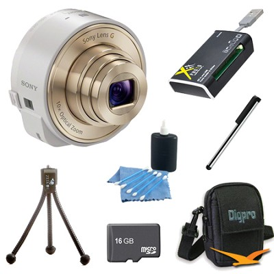DSC-QX10/W Smartphone attachable lens-style camera (White) 16GB Bundle