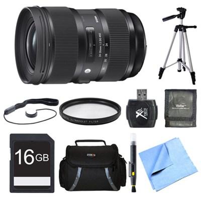 24-35mm F2 DG HSM Standard-Zoom Lens for Nikon 16GB Bundle