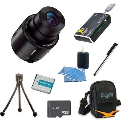 DSC-QX100/B Smartphone attachable lens-style camera 32GB Bundle