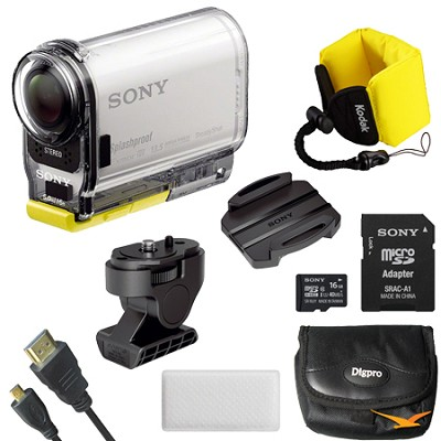 HDR-AS100V/W HD POV Action Camera with 3-Inch LCD (White) Mount Bundle