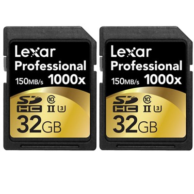 32GB Professional 1000x SDHC Class 10 UHS-II Memory Card 2-Pack Bundle