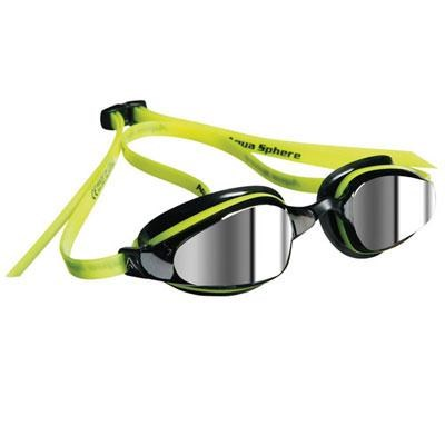 K180 Swim Goggles with Mirrored Lens and Yellow/Black Frame - 173520