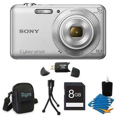 DSCW710 16 MP 2.7-Inch LCD Digital Camera Silver Kit