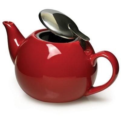 Ceramic Teapot w Infuser Red
