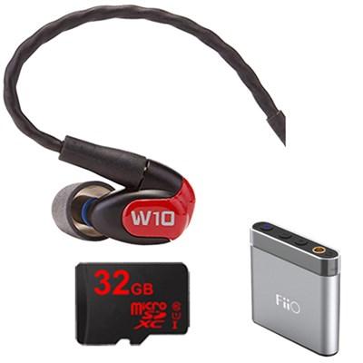 W10 Premium Single Driver In-Ear Monitor Headphones-78501 w/ FiiO A1 Amp Bundle