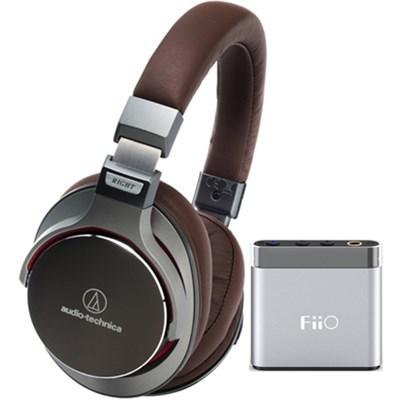 SR7 SonicPro Over-Ear Hi-Res Headphones w/ FiiO A1 Amplifier, Gun Metal