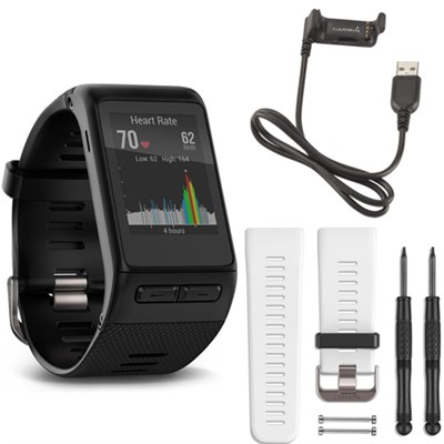 vivoactive HR GPS Smartwatch - Regular Fit (Black) White Band Deluxe Bundle