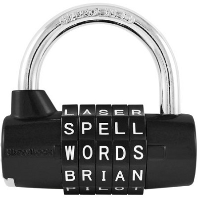 PL-004-BK 5-Dial Resettable Word or Letter Combination Padlock, Black