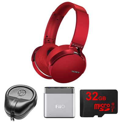 Extra Bass Bluetooth Headphones - Red - MDRXB950BT/R w/ M-Audio Amp. Bundle
