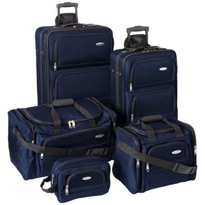 Luggage Lightweight 5 Piece Nested Travel Set (Navy Blue)