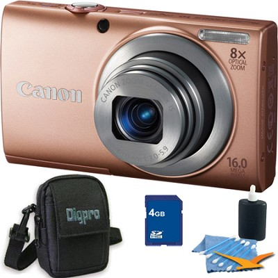 PowerShot A4000 IS 16MP Pink Digital Camera 4GB Bundle