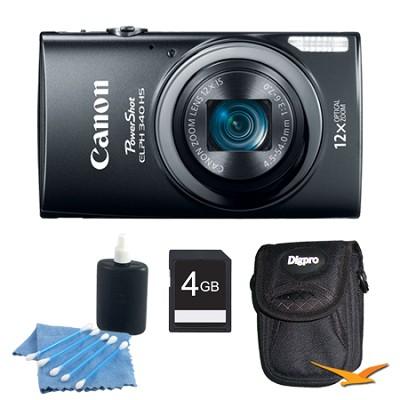 PowerShot ELPH 340 HS 16MP 12x Zoom 3-inch LCD Black Kit