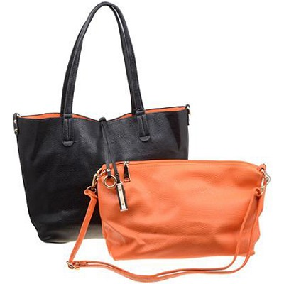 Modern Leather Inspired Tote Black Handbag with Added Mini-Orange Tote