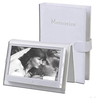7` Portable Digital Photo Frame with Embossed Leather Cover