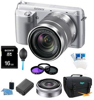 NEX-F3K Camera built in flash with 18-55, 16mm f2.8 Ultimate Bundle  (Silver)