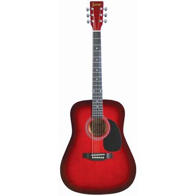 LA125RD Satin Finish Dreadnought Acoustic Guitar - Redburst