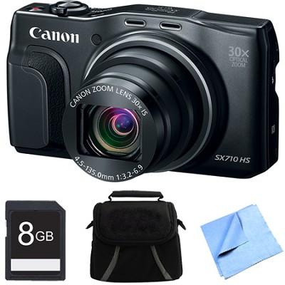 PowerShot SX710 HS 20.3MP 30x Opt Zoom HD 1080p Digital Camera Black 8GB Bundle