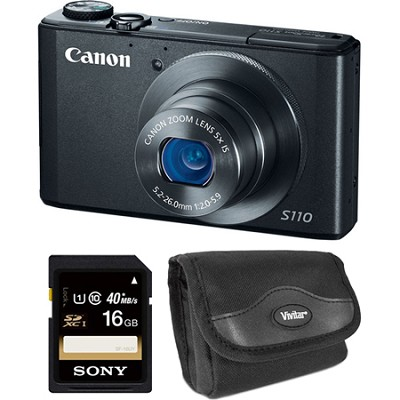 PowerShot S110 Black Compact High Performance Camera 16GB Bundle