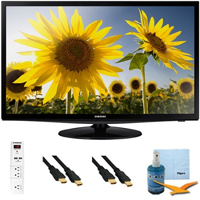 28` Slim LED HD 720p TV Clear Motion Rate 120 Plus Hook-Up Bundle - UN28H4000