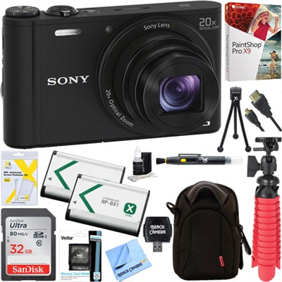 Cyber-shot DSC-WX350 Digital Camera (Black) + 32GB Dual Battery & Accessory Kit