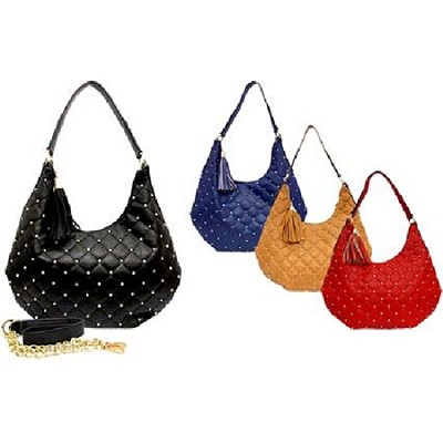 Quilted Hobo with Micro Stud & Tassel in Navy - 1034NVY