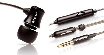 J3M Micro Atomic In-Ear Earphones with Mic for Cellular (Jet Black) 812887011204