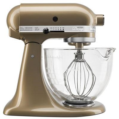 Artisan Series 5-Quart Stand Mixer in Champagne Gold w/ Glass Bowl - KSM155GBCZ