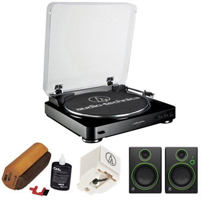 Fully Automatic Stereo Turntable System - Black w/ Mackie Studio Monitor Bundle