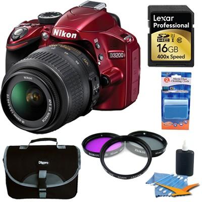 D3200 DX-format DSLR Kit w/ 18-55mm DX VR Zoom Lens (Red) 16GB Deluxe Bundle