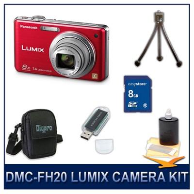 DMC-FH20R LUMIX 14.1 MP Digital Camera (Red), 8GB SD Card, and Camera Case