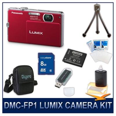 DMC-FP1R LUMIX 12.1 MP Digital Camera (Red), 8G SD Card, Card Reader & Case