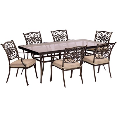 Traditions 7PC Dining Set: 6 Chairs and 42 x84  Glass Table