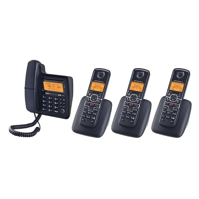 L704C Expandable 4 Handset Corded + Cordless Dect 6.0 Phone w/ Answering Machine