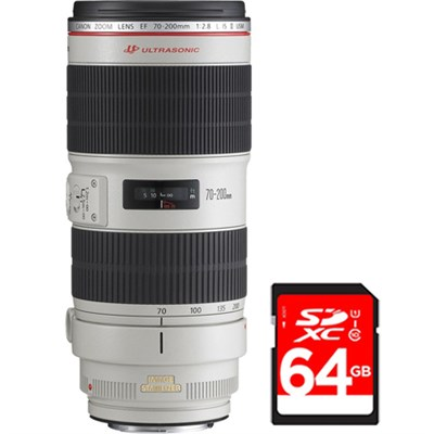 EF 70-200mm f/2.8L IS II USM Telephoto Zoom Lens f/Canon SLR Cameras w/64GB Card