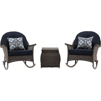 San Marino 3 Piece Rocking Chat Set in Navy Blue - SMAR-3PC-NVY