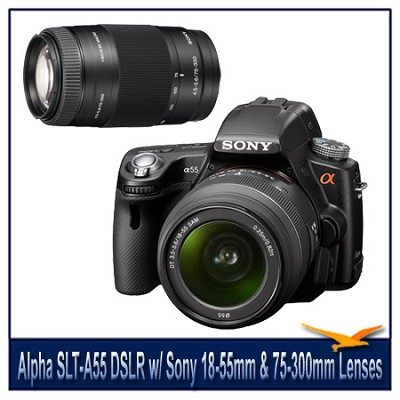 Alpha SLT-A55 16.2 MP DSLR Kit w/ Sony 18-55mm Lens & 75-300mm f/4.5-5.6 Lens