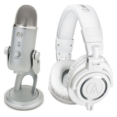 ATH-M50x Professional Studio White Headphone USB Microphone Bundle