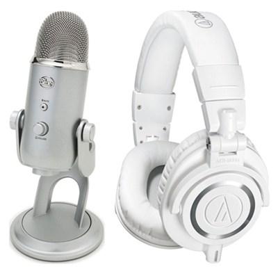 ATH-M50x Professional Studio White Headphone USB Microphone Bundle
