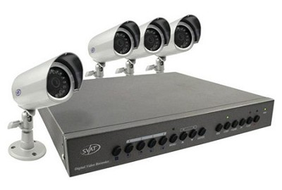 Digital Video Recorder w/ 4 High Resolution Night Vision Surveillance Cameras