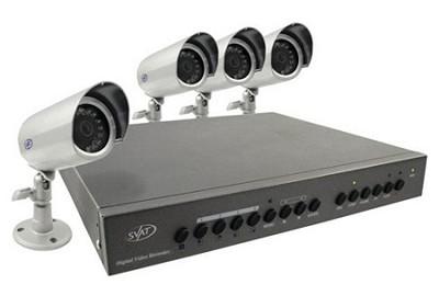 Digital Video Recorder w/ 4 High Resolution Night Vision Surveillance Cameras