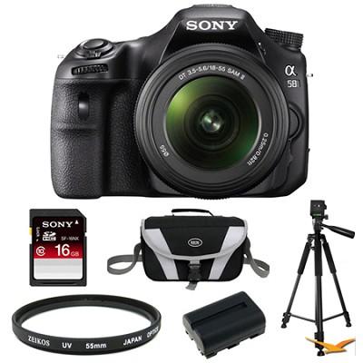 Alpha SLT-A58K Digital SLR Camera 16 GB Tripod Bundle