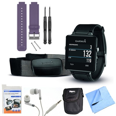 vivoactive GPS Smartwatch Black with Heart Rate Monitor Purple Band Bundle