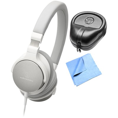 On-Ear High-Resolution Audio Headphones w/ Slappa Case & Cleaning Cloth, White