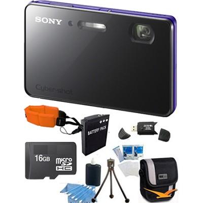 DSC-TX200V/V - 18.2 MP Camera Waterproof 3.3` OLED (Violet) Ultimate Bundle