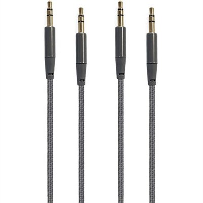 2-Pack 4ft Premium Audio Cable 3.5mm to 3.5mm Braided Nylon Gold Plated