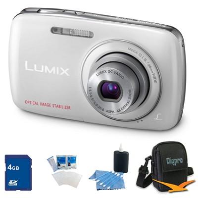 Lumix DMC-S3 14MP Compact White Digital Camera w/ 720p HD Video 4GB Bundle