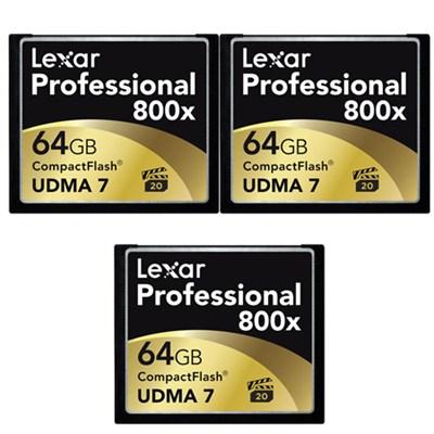 64GB Professional 800x Compact Flash Memory Card (LCF64GCTBNA800) 3-Pack Bundle