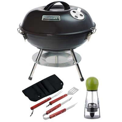 Portable Charcoal Grill, 14` Black with Carteret BBQ Apron tool & Spice Mill